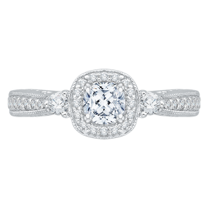 PRU0008EC-02W Bridal Jewelry Carizza White Gold Cushion Cut Diamond Halo Engagement Rings