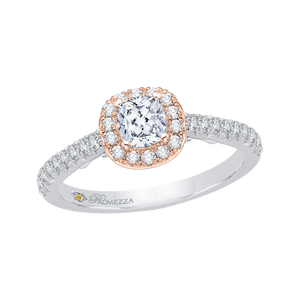 Cushion Diamond Halo Engagement Ring In 14K Two Tone Gold
