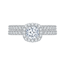 Load image into Gallery viewer, Cushion Diamond Halo Engagement Ring In 14K White Gold