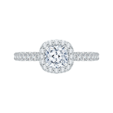 Load image into Gallery viewer, PRU0018EC-02W Bridal Jewelry Carizza White Gold Cushion Cut Diamond Halo Engagement Rings