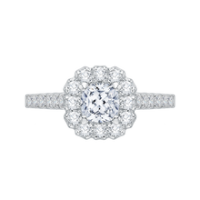 Load image into Gallery viewer, PRU0036EC-02W Bridal Jewelry Carizza White Gold Cushion Cut Diamond Halo Engagement Rings