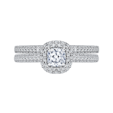 Load image into Gallery viewer, 14K White Gold Cushion Diamond Double Halo Engagement Ring