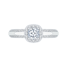 Load image into Gallery viewer, PRU0084EC-44W Bridal Jewelry Carizza White Gold Cushion Cut Diamond Halo Engagement Rings