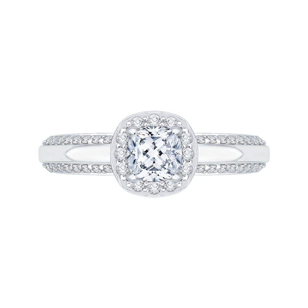 PRU0084EC-44W Bridal Jewelry Carizza White Gold Cushion Cut Diamond Halo Engagement Rings