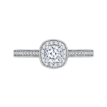 Load image into Gallery viewer, PRU0133ECH-44W-.50 Bridal Jewelry Carizza White Gold Cushion Cut Diamond Halo Engagement Rings