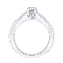 Load image into Gallery viewer, 14K White Gold Cushion Cut Diamond Cathedral Style Engagement Ring