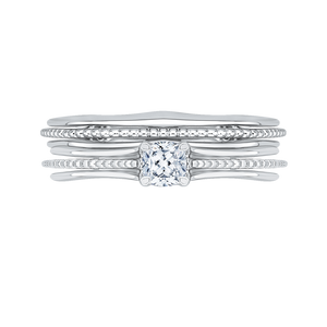 14K White Gold Cushion Cut Diamond Cathedral Style Engagement Ring