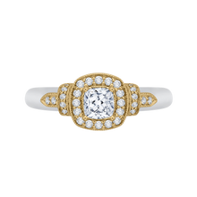 Load image into Gallery viewer, PRU0151EC-44WY-.50 Bridal Jewelry Carizza White Gold Rose Gold Yellow Gold Cushion Cut Diamond Halo Engagement Rings