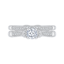 Load image into Gallery viewer, 14K White Gold Cushion Diamond Cathedral Style Engagement Ring