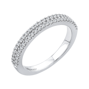14K White Gold Half Eternity Round Diamond Wedding Band