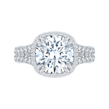 Load image into Gallery viewer, QR0007K-40W Bridal Jewelry Carizza White Gold Round Diamond Halo Engagement Rings