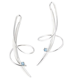 sterling silver blue topaz swirl earrings e245