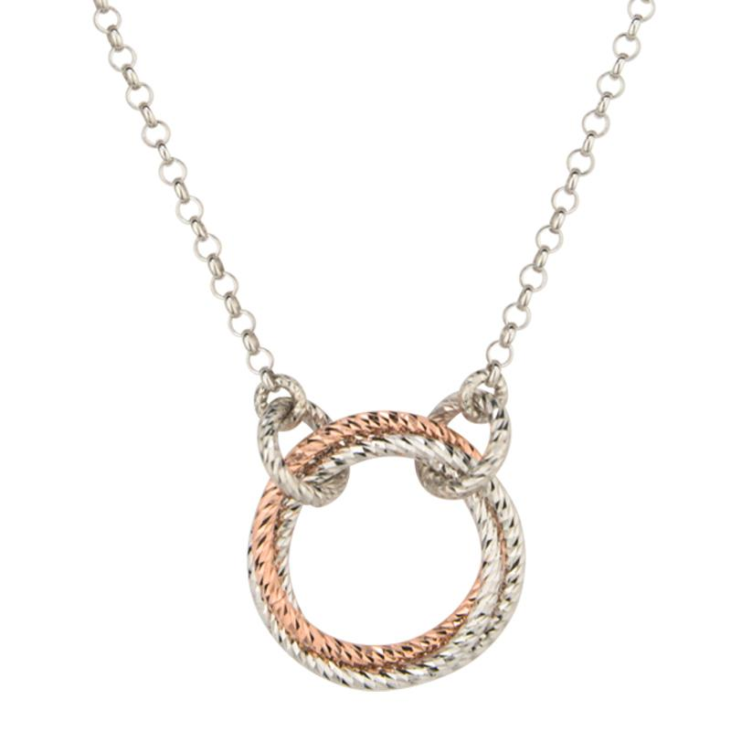 sterling silver and rose gold plated single love knot necklace 19 ne885
