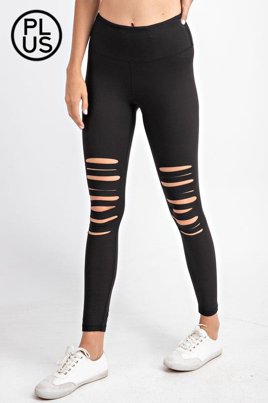 Laser Cut Buttery Soft Leggings-Curvy