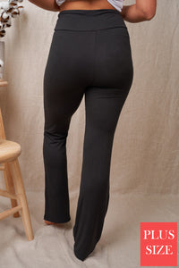 High Waist Solid Knit Pants-CURVY