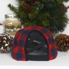 Red/Navy Plaid Hat