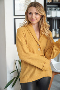 Harper Button Waffle Knit
