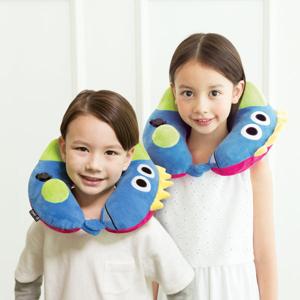 Kid's Inflatable Neck Pillow, with Patented Pump, Dinosaur edition