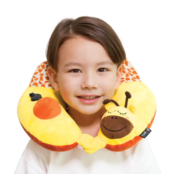 Kid's Inflatable Neck Pillow, with Patented Pump, Giraffe edition
