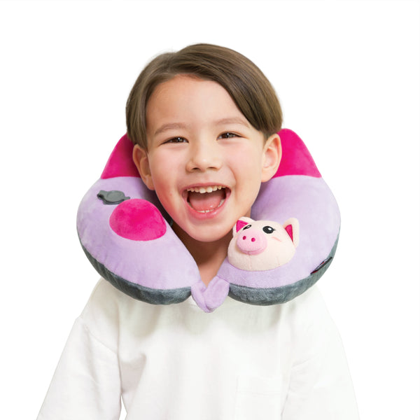 Kid's Inflatable Neck Pillow, with Patented Pump, Piglet Edition