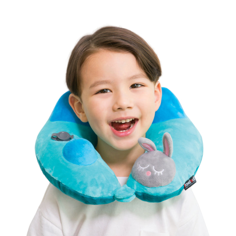 Rabbit 3D Inflatable Neck Pillow, with Patented Pump