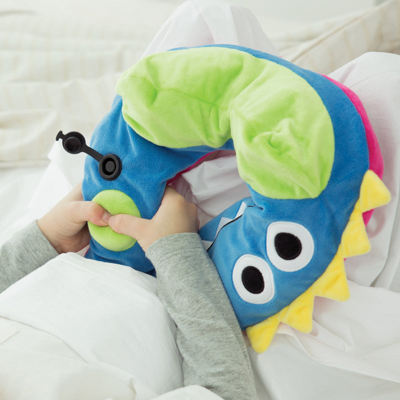Dinosaur Character Inflatable Neck Pillow, with Patented Pump for adult or kids
