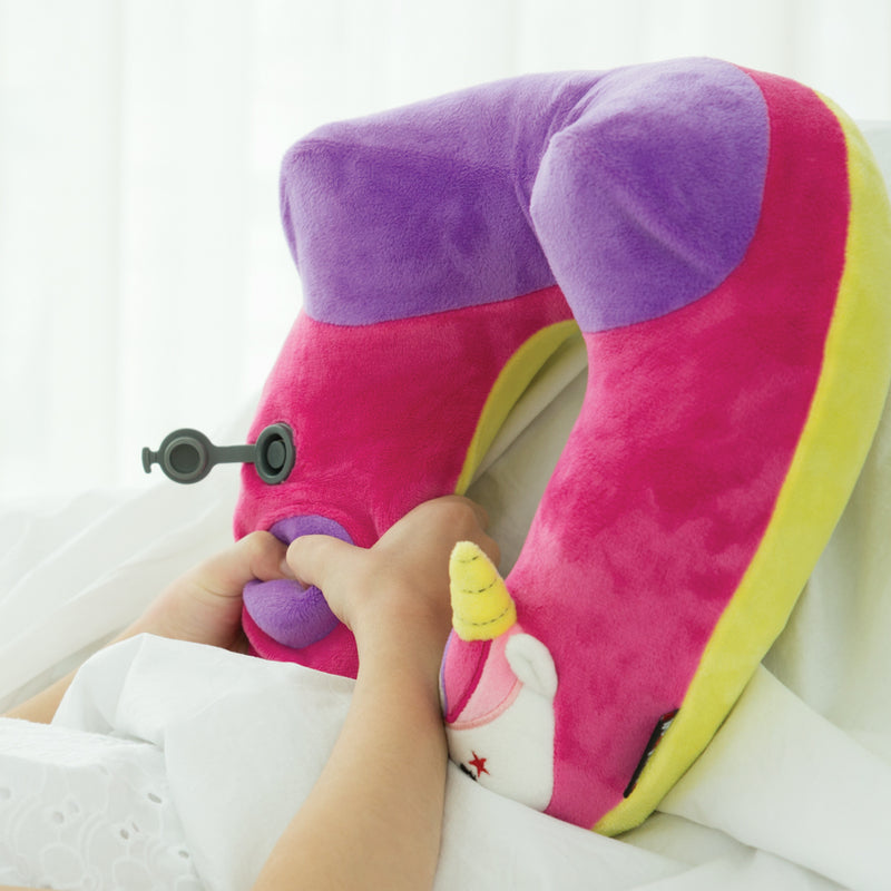 Kid's Inflatable Neck Pillow, with Patented Pump, Unicorn edition