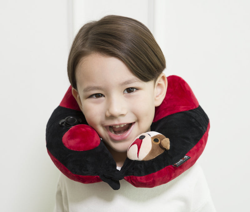 Travelmall Switzerland Kid's Inflatable Neck Pillow with Patented 3D Pump, Bull Dog Red Edition