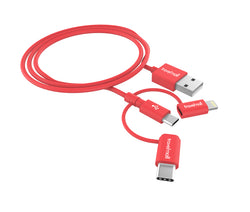 Travelmall Switzerland 3-In-1 Lightning, Micro-USB and USB-C Intelligent Cable, 1M, Red