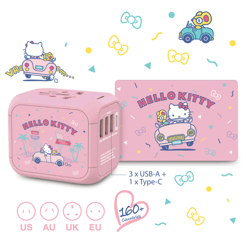Hello Kitty High Performance(5A) Worldwide Travel adaptor with a SIM card removal set