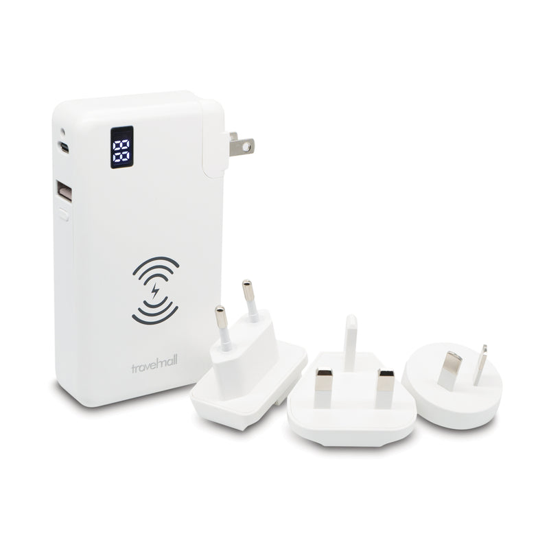 Digital Display Multi-Tool Travel Adaptor with Interchangable AC Plugs & 10W Qi Wireless Charging