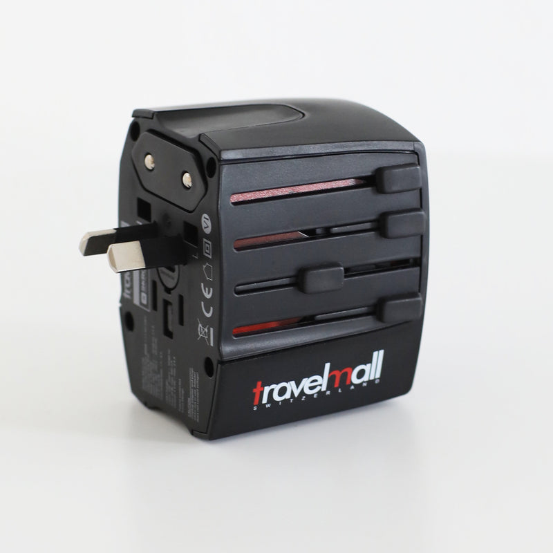 Travelmall Switzerland Dual-USB Worldwide Travel Adaptor Set, with Type-C, Lightning and Micro-USB cable