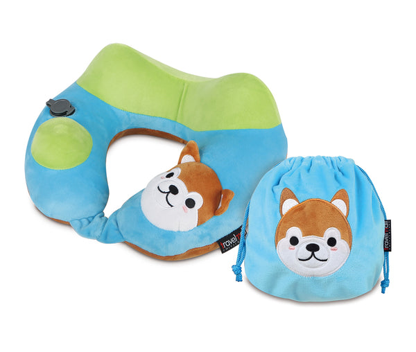 Travelmall Shiba Inu 3D Inflatable Neck Pillow with Patented 3D Pump