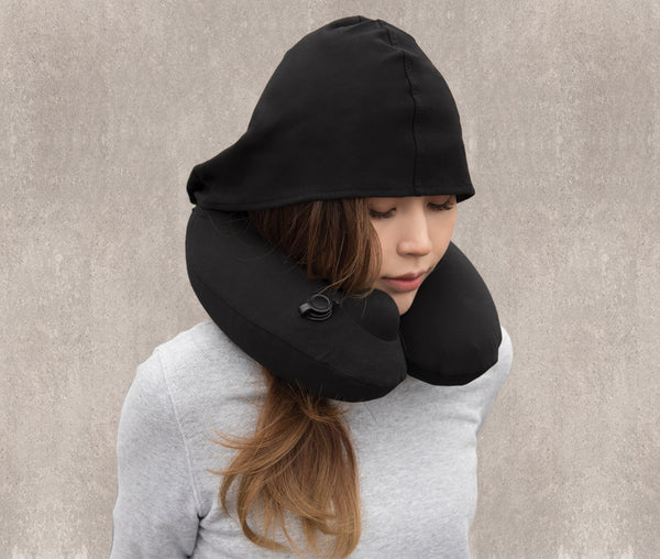 INFLATABLE NECK PILLOW  with Patented Pump and Hood - Black