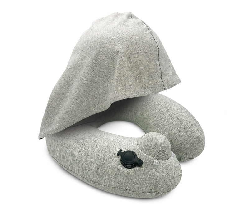 Inflatable Hooded Neck Pillow with Patented Pump and Foldable Hood - Grey edition