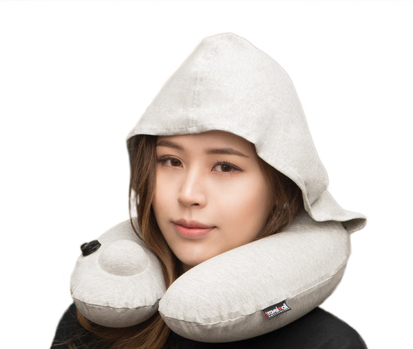 Inflatable Neck Pillow with Patented Pump and Hood - Grey edition