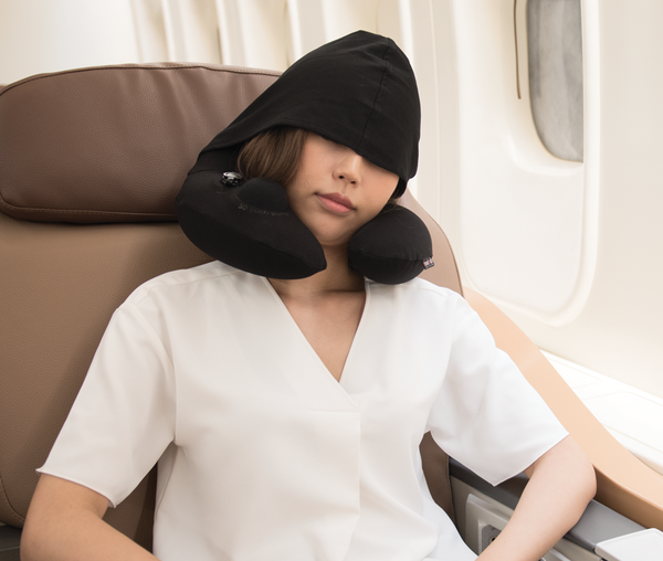 INFLATABLE NURSING NECK PILLOW  with Patented Pump and Hood - Black
