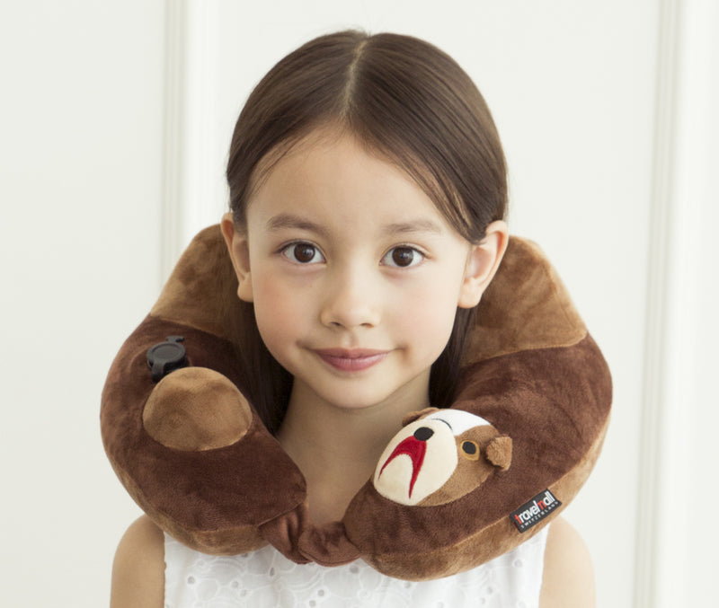 Travelmall Kid's Inflatable Neck Pillow with Patented 3D Pump, Bull Dog Brown Edition