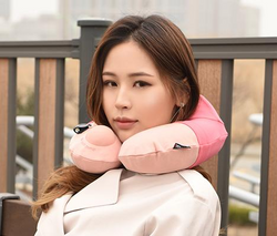 Travelmall Switzerland Inflatable Nursing Neck Pillow With Patented 3D Pump Pink