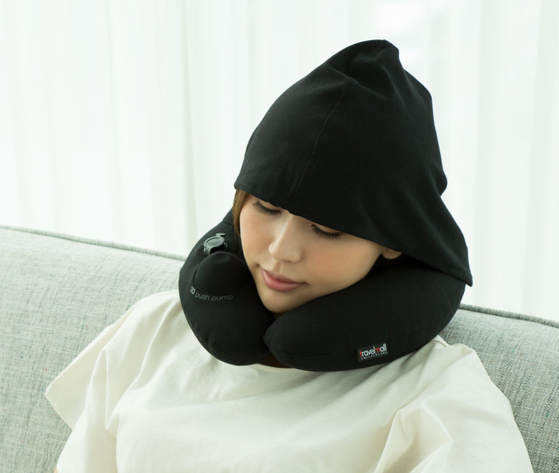 Inflatable Neck Pillow  with Patented Pump and Foldable Hood - Black