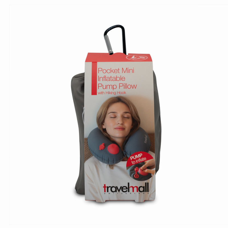 Travelmall Switzerland XS Pocket Mini Inflatable Pump Pillow with Hiking Hook