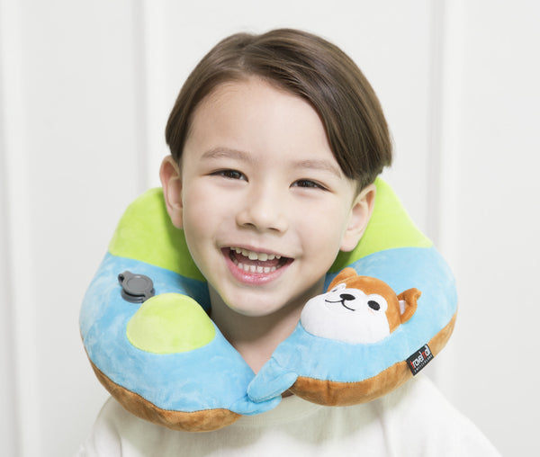 Travelmall Kid's Inflatable Neck Pillow with Patented 3D Pump, Shiba Inu Edition