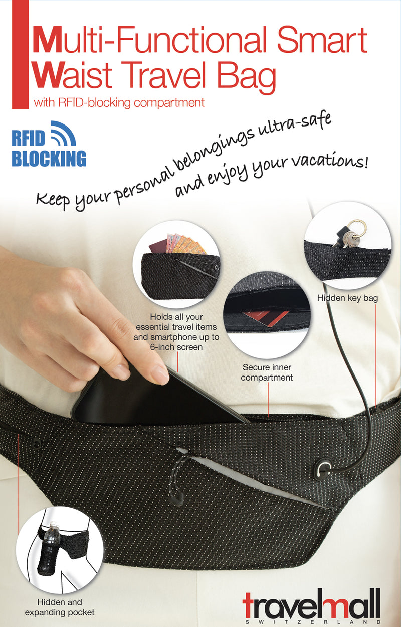 Multi-functional Smart Waist Travel Bag, with RFID blocking compartment