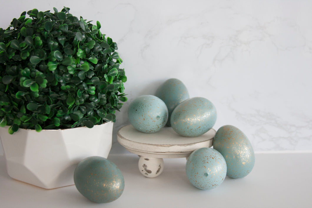 Ombre Aqua Gold Speckled Easter Eggs