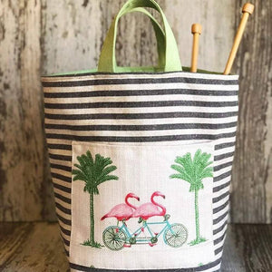 Atenti - Hope Basket Project Bag - Flamingos | Yarn Worx