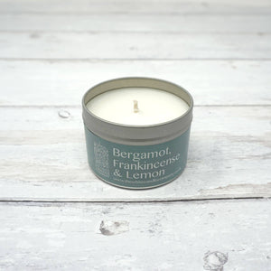White Candle Company 100g Tin - Bergamot, Frankincense & Lemon | Yarn Worx