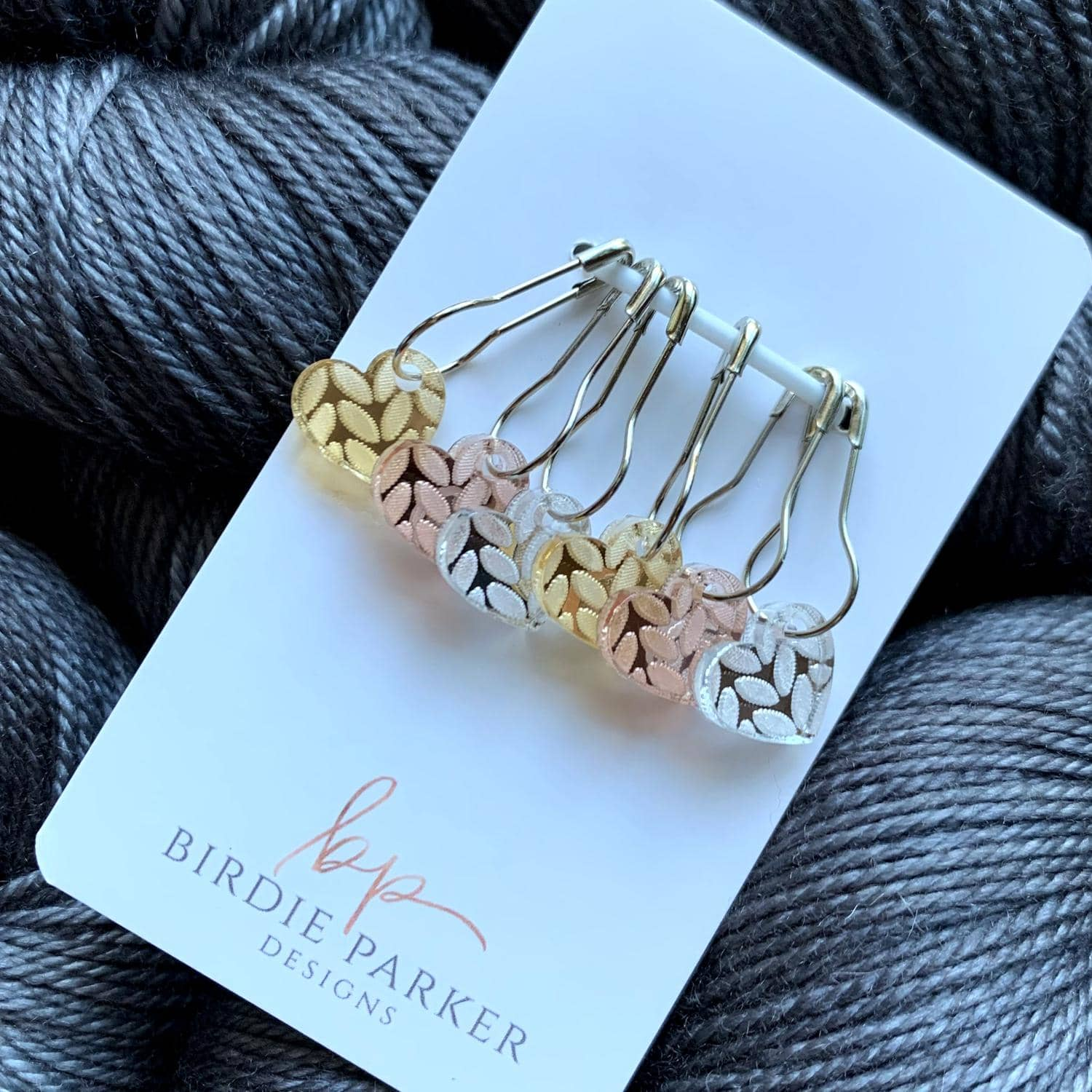Birdie Parker Designs - Metallic Georgia Stitch Markers | Yarn Worx