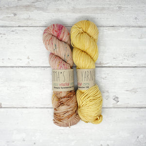 Budis Scarf Kit - LD Knits - Emma's Yarn Spectacular DK - With Pattern - Glamping & Yellow Submarine | Yarn Worx