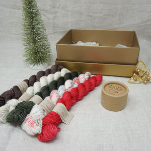 Christmas Knit or Crochet Gift 1 (5 x 20g & Cocoknits Coloured Opening Stitch Markers) with Christmas Sprinkles, Stiletto, Kale, Whisper and Driftwood Practically Perfect Smalls Emma's Yarn