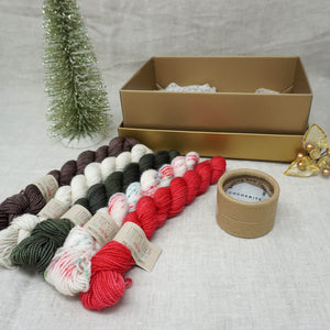 Christmas Knit or Crochet Gift 2 (5 x 20g & Cocoknits Row Counter) with Christmas Sprinkles, Stiletto, Kale, Whisper and Driftwood Practically Perfect Smalls Emma's Yarn